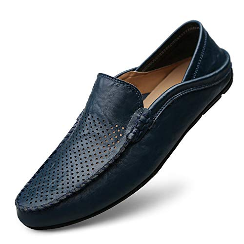 Big Size 38-46 Slip on Casual Men Loafers Spring and Autumn Mens Moccasins Shoes Genuine Leather Men's Flats Shoes New,Navy,11