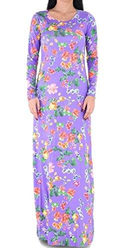 Grandi Le Vestito Donne Di Scollo Stampa Dimensioni Manica Floreale Da Comodi Lunga Partito Viola rt0UAqwx0