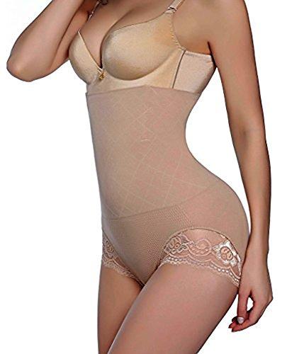 Brief Shaper Panty - GAODI Women Body Shaper Butt Lifter Hi-Waist Panty Seamless Waist Trainer Tummy Control Shapewear (M/L, Beige)