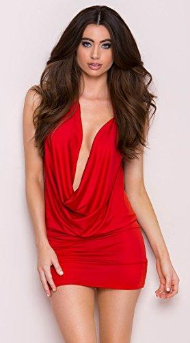 Deep V Front Party Dress, O Ring Dres