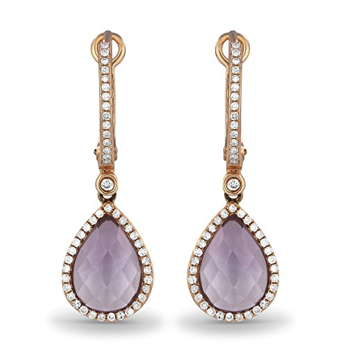 14K Rose Gold Pear Shape Amethyst and Diamond Lever-Back Dangle Earrings