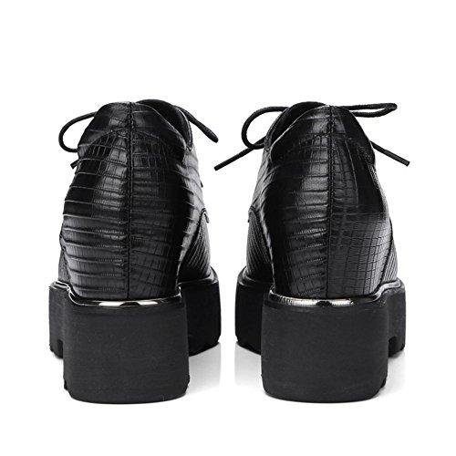 Le signore Pelle NVXIE EUR Scarpe Cuneo UK Scivolare Nike su 35 Sky piattaforma Donna Hi Casuale Dunk EUR37UK455 Nero BLACK 3 Piatto Allacciare Confortevole xnrxYA
