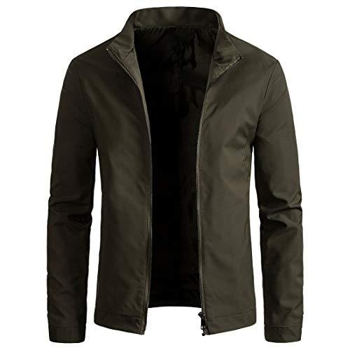 WULFUL Mens Slim Fit Lightweight Windbreaker Casual Jacket Waterproof Outdoor Sportswear Army Green