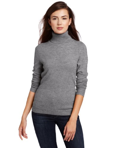 Christopher Fischer Women's 100% Cashmere Turtleneck Sweater, Grey ...