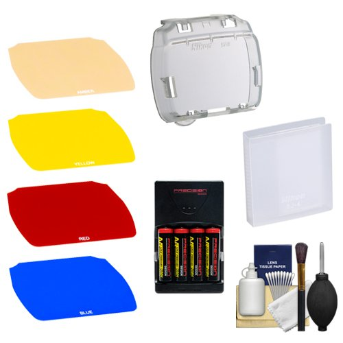 Nikon SJ-4 Speedlight Color Filter Set for The SB-700 Flash with Batteries & Charger + Cleaning Kit (Sb700 Battery Pack)