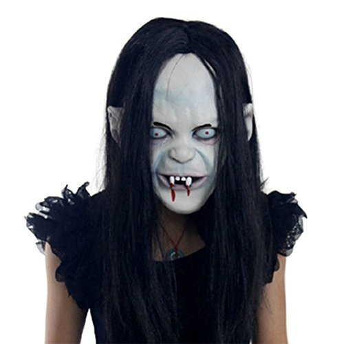 Raleighsee Halloween Mask Sadako Scary Zombie Ghost Creepy Halloween Decoration Party Cosplay with Hair Latex (Zombie Masks Cheap)