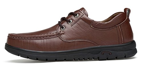 TDA Men's Rubber Sole Dark Brown Leather Fashion Breathable Loafers Driving Lace-up Casual Business Shoes 7 M US by TDA (Image #1)'