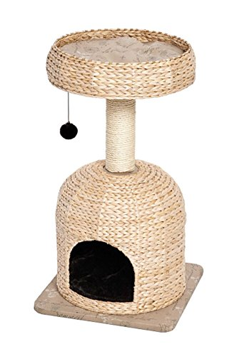 (MidWest Homes for Pets Cat Tree |Scout Cat Furniture Cat Activity Tree w/Sisal Wrapped Support Scratching Posts & Dangle Play Balls, Woven Rattan & Script Small Cat Tree)