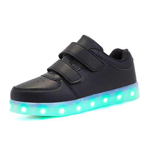 Voovix Kids LED Light up Shoes Lighting Low-Top Sneakers for Boys and Girls(Black,US11/EU29) by Voovix (Image #1)