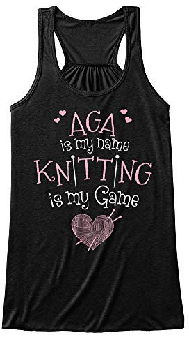 Knitter Named aga. M (6-8) - Black Tank Top - Bella+Canvas Women's Flowy Tank