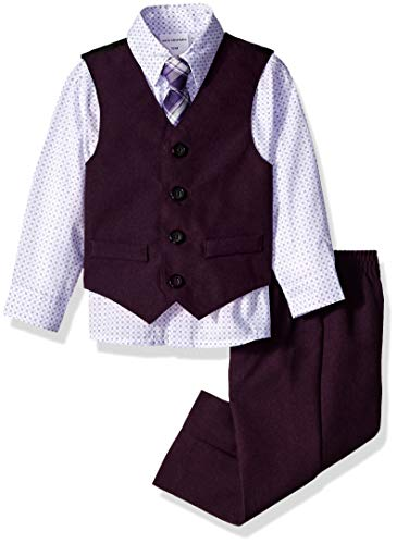 Van Heusen Baby Boys 4-Piece Patterned Dresswear Vest Set, Dark Grape Purple 12M
