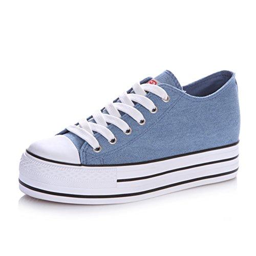 zapatos de lona de mujeres/Otoño clásico aumentó zapatos del estudiante plataforma stealth/Color puro con baja zapatos mujeres A