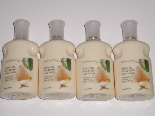 Bath & Body Works Pleasures Collection White Tea and Ginger Body Lotion 8.0 Oz - Lot of 4 ()
