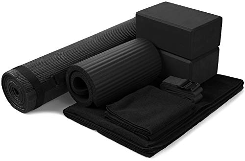 BalanceFrom GoYoga 7-Piece Set - Include Yoga Mat with Carrying Strap, 2 Yoga Blocks, Yoga Mat Towel, Yoga Hand Towel, Yoga Strap and Yoga Knee Pad (Black, 1/4