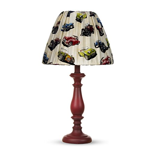 Glenna Jean Fast Track Red Lamp Base With Car Shade, 12 x 12 x 24'' by Glenna Jean