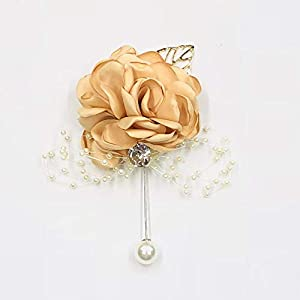Abbie Home Classic Boutonnière for Prom Party Wedding Ball Event Blooming Rose Rhinestone Pearl Decent Brooch Pin for Suit Dress (Champagne) 46