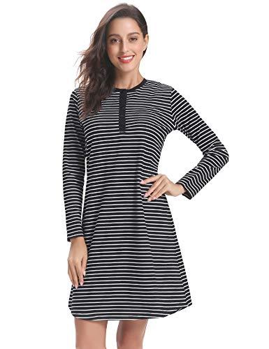 (Hawiton Women's Cotton Long Sleeve Nightdress Striped Nightgown Sleepwear Shirt Black)