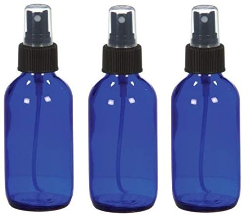 3 Empty Blue Glass Spray Bottles - 4oz Refillable Bottle is Great for Essential Oils,Homemade Cleaning and Aromatherapy-3 Pack