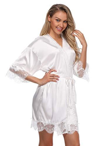 Sexy Silk Kimono Robe for Women Short Sleepwear Bride and Bridesmaid Bath Robe with Lace Trim White ()