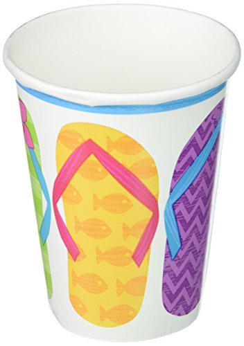Luau Tableware (Sun-Sational Summer Luau Party Colorful Flip Flops Cups Tableware, Paper, 9 Ounces, Pack of 50)