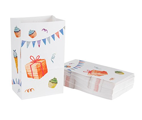 Party Treat Bags - 36-Pack Gift Bags, Birthday Party Supplies, Paper Favor Bags, Recyclable Goodie Bags for Kids, Birthday Cake and Gifts Design, 5.2 x 8.7 x 3.3 Inches by Blue Panda