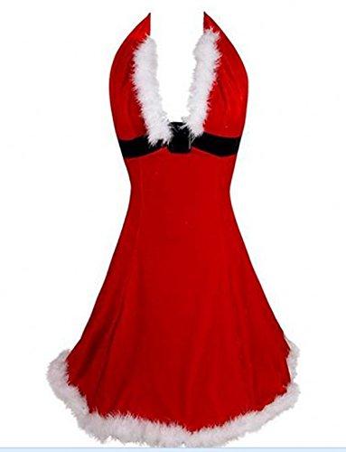 MISS MOLY Mrs Claus Costume Velvet Christmas Lingerie V-Neck Fancy Dress Outfit Red L