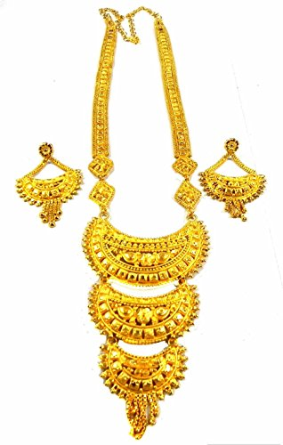 Gold Plated Long Necklace Earrings sets Indian Ethnic Fashion Jewelry in 6 Styles (NO. (22k Gold Earring Set)