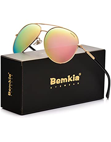 4f9264efb3d4 Bemkia Aviator Polarized Sunglasses Men Women 60mm Len Shades Metal Frame  UV400