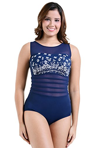 0be6db03004 Galleon - PERONA Women's Tummy Control Swimsuit One Piece Tankini Bathing  Suit Vintage Printed Swimwear
