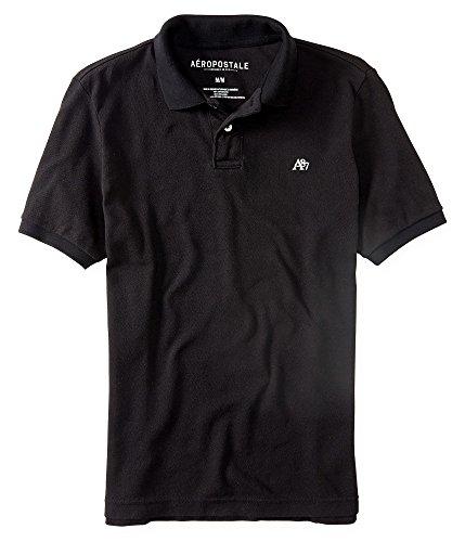 Aeropostale Men's Solid Uniform Logo Polo Shirt Medium Black 001a