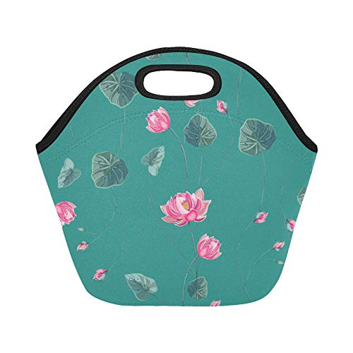 Insulated Neoprene Lunch Bag Lotus Leaf Hand-painted Color Large Size Reusable Thermal Thick Lunch Tote Bags For Lunch Boxes For Outdoors,work, Office, School