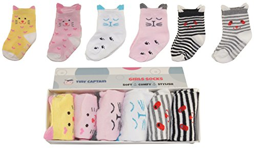 Baby Socks For Toddler Girls With Non Slip Grips, 8-24 Month Girl Grip Sock Baby Walker Cartoon Socks Best 1 Year Old Girls Gift From Tiny Captain (Pink)