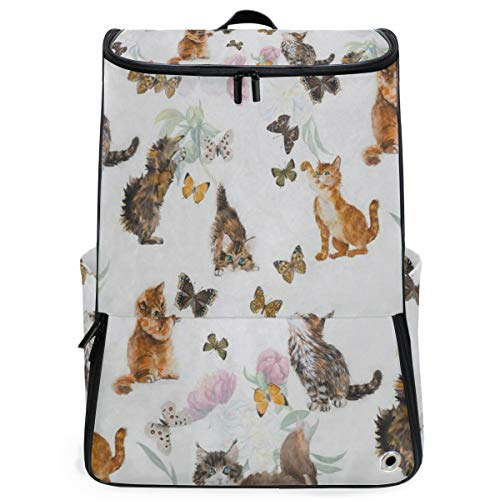 Laptop Backpack Cute Kitten Cat Floral Butterfly College Backpack for Women Large Hunting Back Pack (Laurex Backpack Laptop)