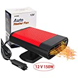 Kisronda® Car Heater Portable 30 Seconds Fast Heating Quickly Defrosts Defogger 12V 150W Auto Ceramic Heater Cooling Fan 3-Outlet Plug In Cig Lighter (Black)