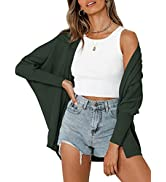 Quenteen Womens Open Front Cardigan Oversized Batwing Sleeve Ribbed Knit Sweaters