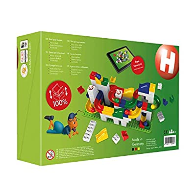 Hubelino Marble Run - 123-Piece Basic Building Box - The Original! Made in Germany! - Certified and Award-Winning Marble Run - 100% Compatible with Duplo: Toys & Games