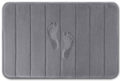 Quilted Flannel Memory Foam Bath Mat, Anti Slip Bath Rug with Strong Absorbent, Machine Washable Shower Rug, Perfect Plush Bathroom Mat for Tub, Shower and Bathroom (20″X32″, Gray)