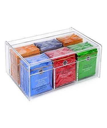 Home-it Acrylic Tea Bag Holder 6 Compact Tea Bag Organizer (Clear)