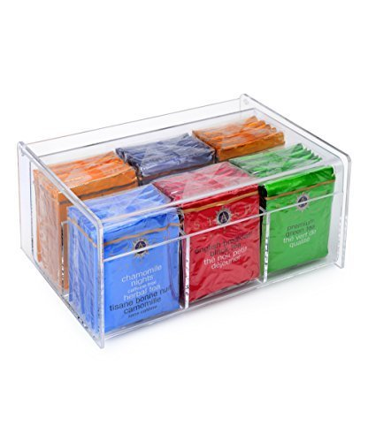 Home-it Acrylic Tea Bag Holder 6 Compact Tea Bag Organizer ()