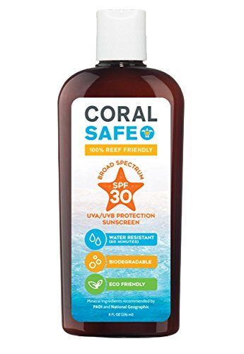 Coral Safe All Natural Biodegradable Sunscreen, SPF 30, Reef Safe, Water Resistant, Approved for Snorkeling and Scuba Diving, 8 Fl...
