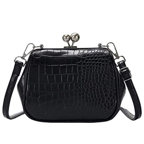 Bambus Women's Crossbody Bag Small Classic Crocodile Pattern Shoulder Bag with Kiss-Lock Clutch Shoulder Messenger Bags with Removable Strap