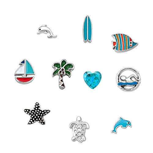 Third Time Charm Sea Holiday Floating Charm For Glass Living Memory Lockets Necklace & Bracelets (Origami For Charms Holiday Owl)