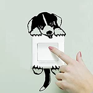 Funnytoday365 3D Stickers Funny Cute Cartoon Doggy Dog Pet Light Switch Sticker 3120 Funny Wall Decal Vinyl Stickers Home Decor