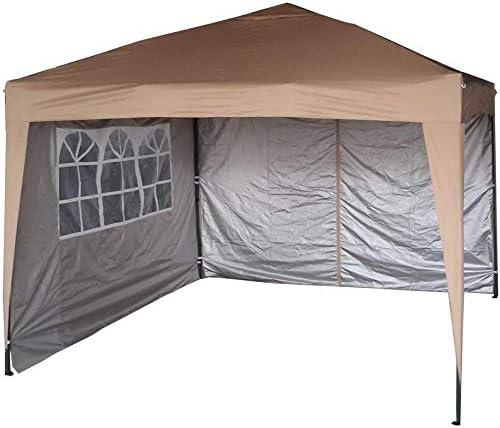 DeFacto® - Carpa plegable de 3 x 4 m de PVC – 100% resistente al agua – 2 paredes laterales (1 pared completa una ventana) bolsa de transporte (beige claro): Amazon.es: Jardín
