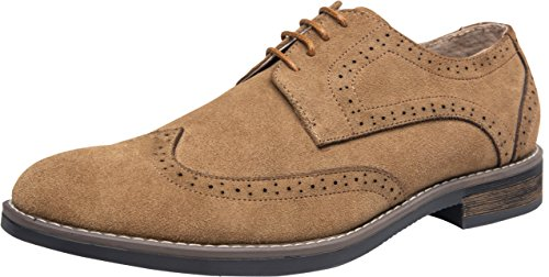 JOUSEN Men's Oxford Suede Dress Shoes Leather Wingtip Brogue Derby Shoes (11.5,Brown) ()