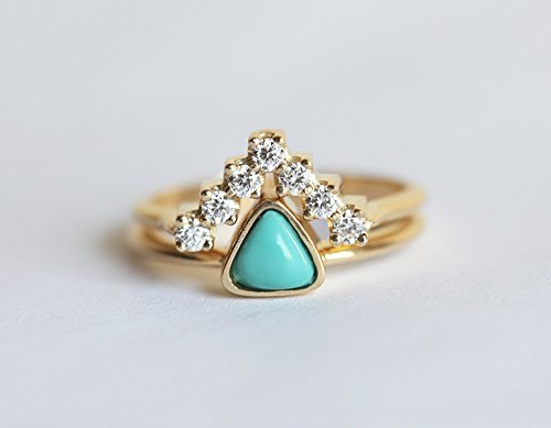 Turquoise Engagement Ring, Trillion Engagement Ring, Diamond Wedding Set, V Diamond Band with Trillion Turquoise
