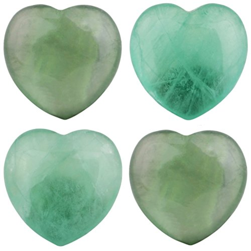 rockcloud Healing Crystal 0.8 inch Green Fluorite Heart Love Carved Palm Worry Stone Chakra Reiki Balancing Mini Size(Pack of 4)