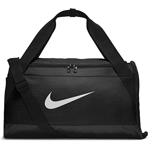 NIKE Brasilia Training Duffel Bag, Black/Black/White, Small -