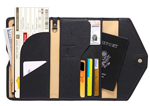 41VhjdCk 8L - Zoppen Multi-purpose Rfid Blocking Travel Passport Wallet (Ver.4) Tri-fold Document Organizer Holder, 1 Black