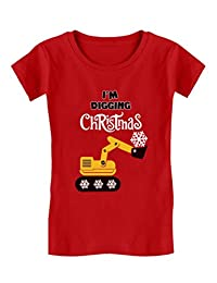I'm Digging Christmas Snow Plough Tractor Toddler/Kids Girls' Fitted T-Shirt